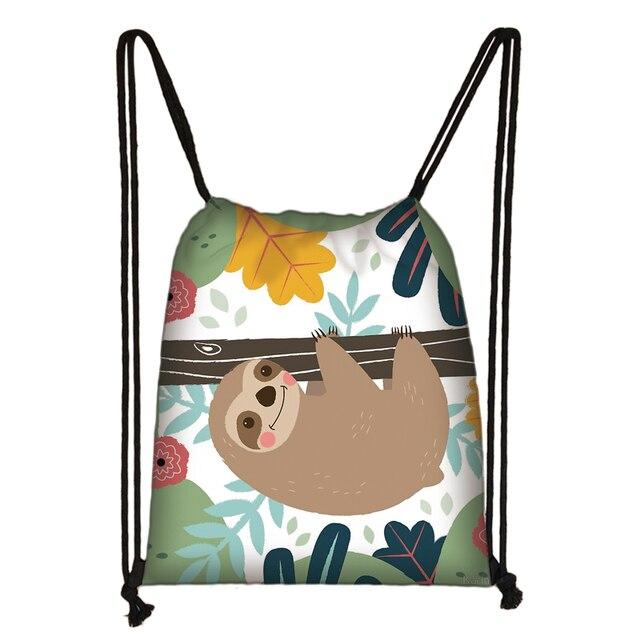 Cute Animal Sloth Print Drawstring Bag Ladies Storage Bag Women Fashion Shopping Bags Teenager Boys Girls Backpack Bookbag 3
