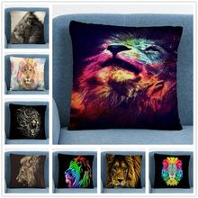 Wild Colorful Lion Animals Linen Cushion Cover Pillow Case for Home Sofa Car Decor Pillowcase Wild Colorful Lion Animals 45X45cm crocheted wild animals