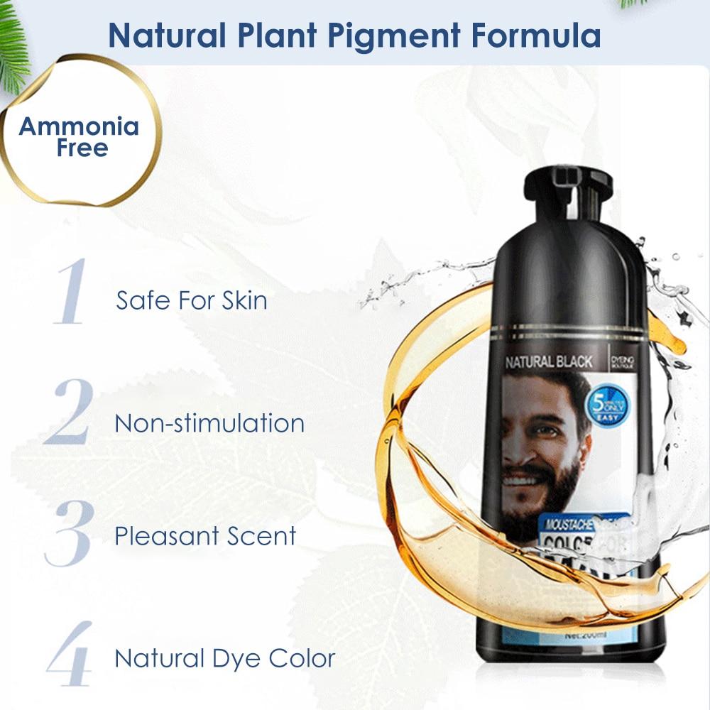 natural long lasting 200ml permanent beard dye shampoo for men beard dying removal white grey beard hair men beard dye shampoo 3