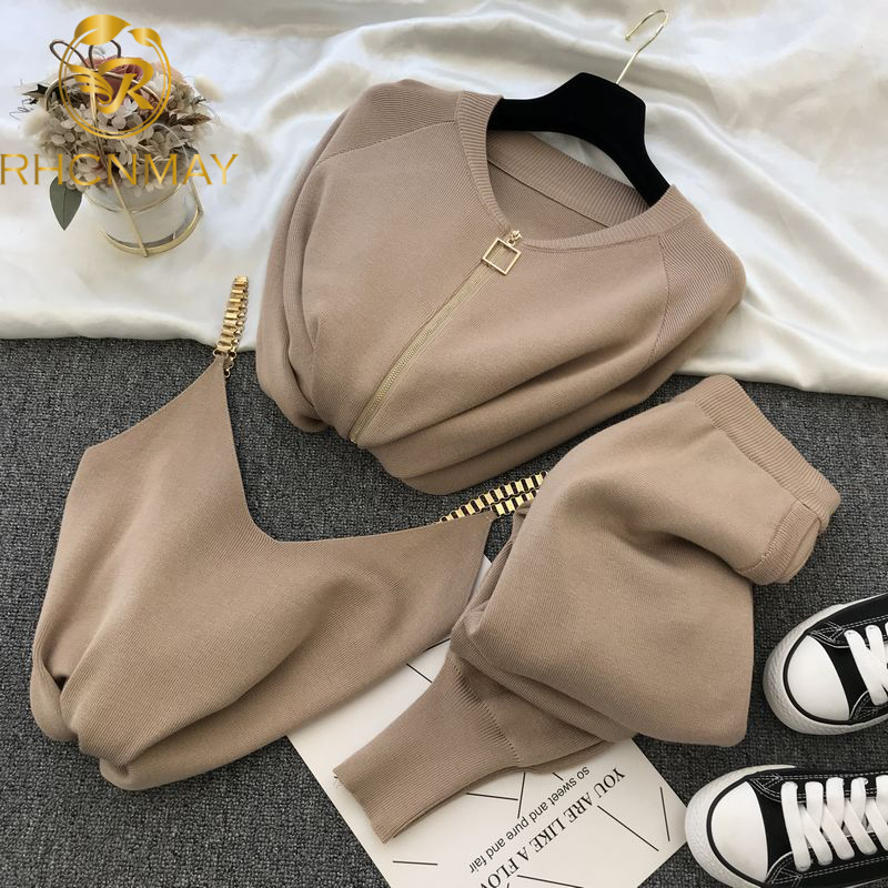 Women Zipper Knitted Cardigans Sweaters + Pants Sets + Vest Woman Fashion Jumpers Trousers 2 PCS Costumes Outfit