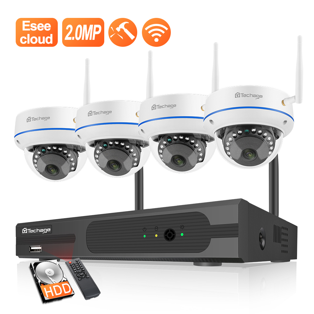 Techage 4CH 1080P Wireless NVR CCTV Überwachung Set Sicherheit IP Kamera System 2MP Wifi Audio Sound CCTV Dome Indoor kamera