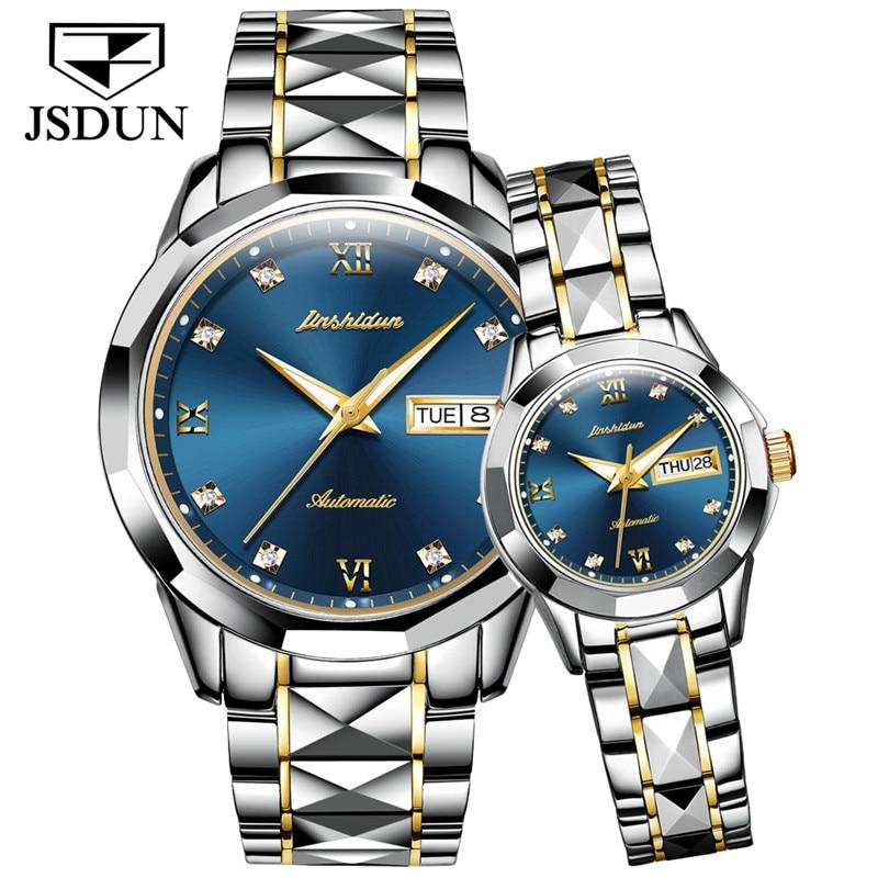 JSDUN Fashion Couple Watch Waterproof Automatic Mechanical Watch Imported Movement Tungsten Steel Watch For Men Women Lover Gift