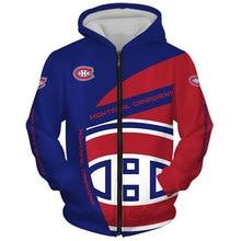 Montreal men's fashion Long sleeve 3D Canadiens Zip Hoodies Blue red stitching fun letter printing Sweatshirt