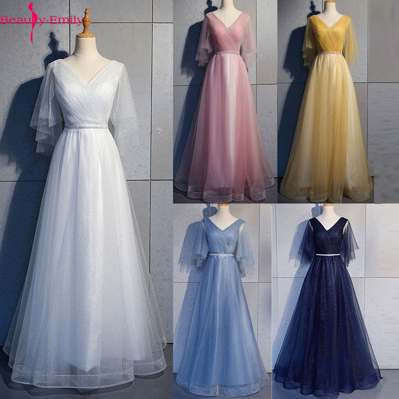Beauty Emily Tulle V Neck Ruffle Evening Dresses Long A line Crystal Formal Dress Party Prom Gowns Lace Up Back Vestido de noche
