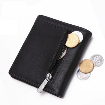 BISON DENIM Fashion Purse Men's Genuine Leather Wallet RFID Blocking Mini Wallet Male Card Holder Small Zipper Coin Purse W9317