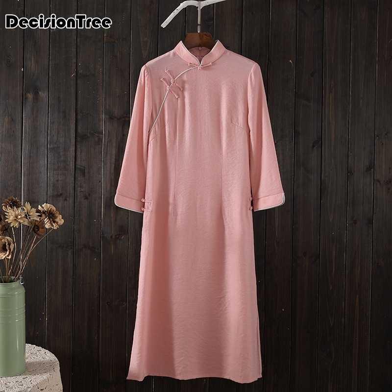 2020 中国ドレスヴィンテージカジュアルな中国風のチャイナ袍ドレス女性エレガントなノベルティロングドレス亜麻ローブ禅スタイル