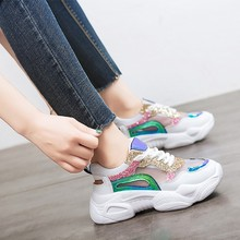 Women Sneakers Mixed Color Lace Up Platform Shoes 2019 Fashion Street Style Daddy Woman  wedge sneakers platform