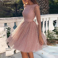 2020 Spring Hollow Out Backless Lace Party Dress Women Summer Sexy O-neck A-Line