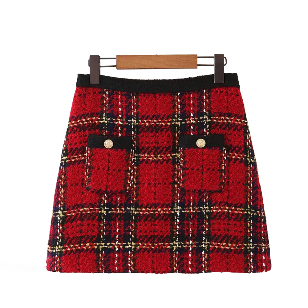 Red Vintage Women Tweed Mini Skirts 2019 Winter Fashion Ladies Plaid Skirt Female Patchwork Falda Girls High Waist Skirts Chic