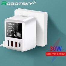30 ワット急速充電器 QC3.0 pd マイクロ usb タイプ c 電話急速充電器 3 usb ポート + 1 タイプ c ポート huawei 社の iphone 用の led ディスプレイ xiaomi