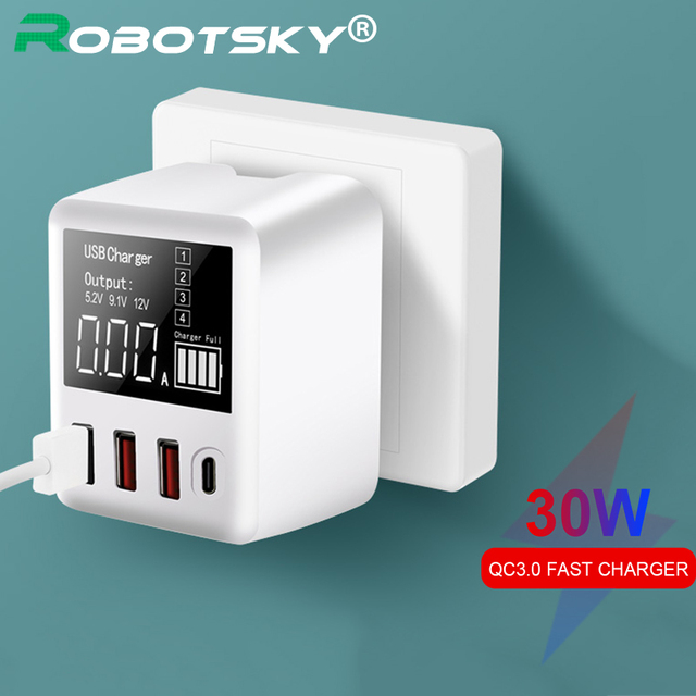 30W Fast Charger QC3.0 Pd Micro Usb Type C Telefoons Quick Charger 3 Usb Poorten + 1 Type C Poort Led Display Voor Huawei Iphone Xiaomi