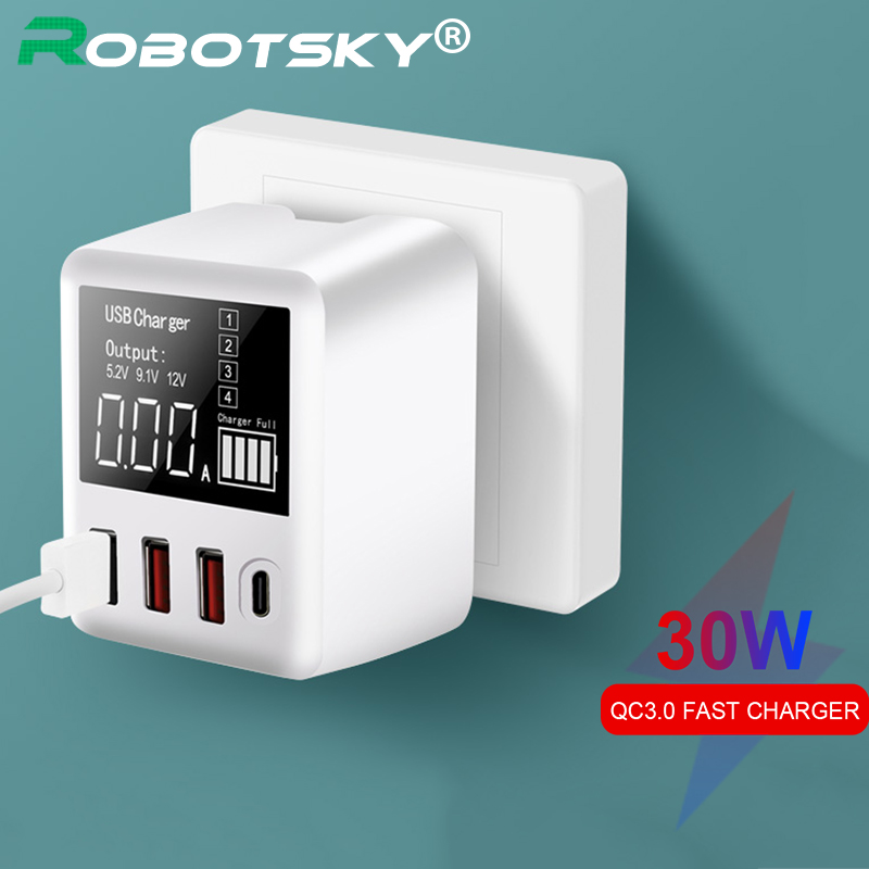 30W Fast <font><b>Charger</b></font> <font><b>QC3.0</b></font> PD Micro <font><b>USB</b></font> Type-C Phones Quick <font><b>Charger</b></font> 3 <font><b>USB</b></font> Ports + 1 Type-C Port LED Display for Huawei iPhone Xiaomi image