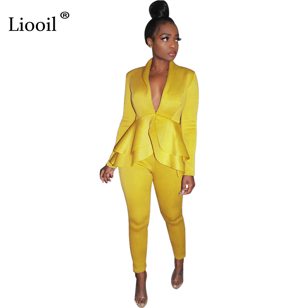 Liooil Two Piece Set Women Club Outfits Autumn 2019 Long Sleeve V Neck Sexy Ruffle Blouse And Long Pants Party Black White Suit