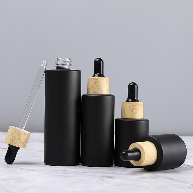 Набор черных стеклянных флаконов (10 шт/20-100 мл) с пипеткой-капельницей и деревянной крышкой