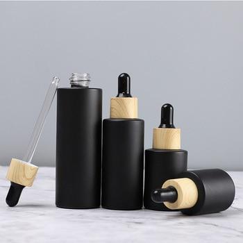 Набор черных стеклянных флаконов (10 шт) с пипеткой-капельницей и деревянной крышкой
