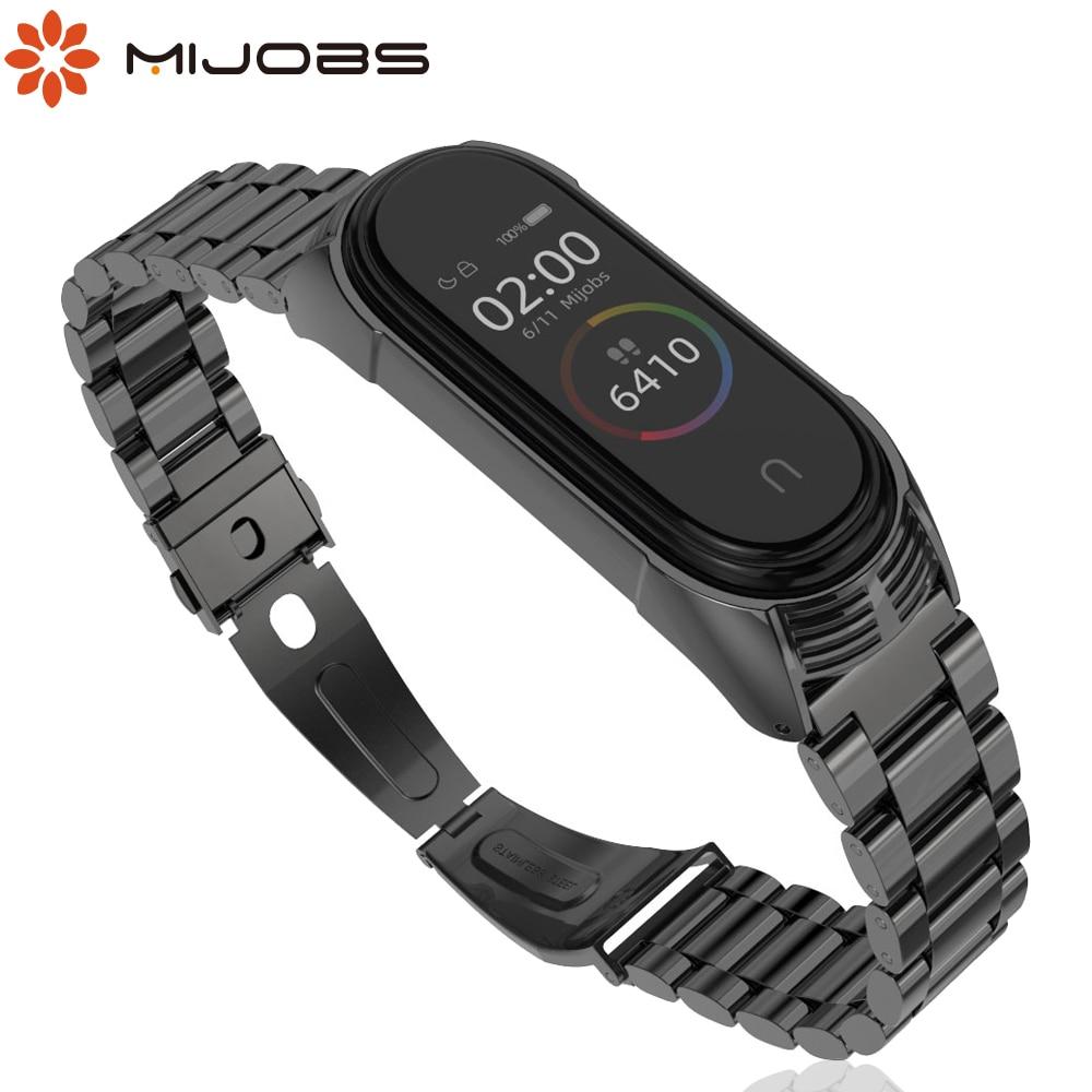 Mijobs Mi Band 4 Strap Metal Bracelet For Xiaomi Mi Band 4 3 Strap Screwless Stainless Steel MiBand 3 NFC Wrist Smart Wristband