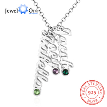лучшая цена JewelOra 925 Sterling Silver Personalized Vertical Name Necklace with 3 Birthstones Custom Made Family Necklace Gift for Mother