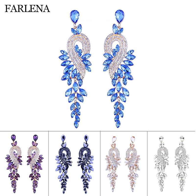 Женские свадебные серьги-подвески, роскошные большие серьги в форме листа с кристаллами, вечерние ювелирные изделия