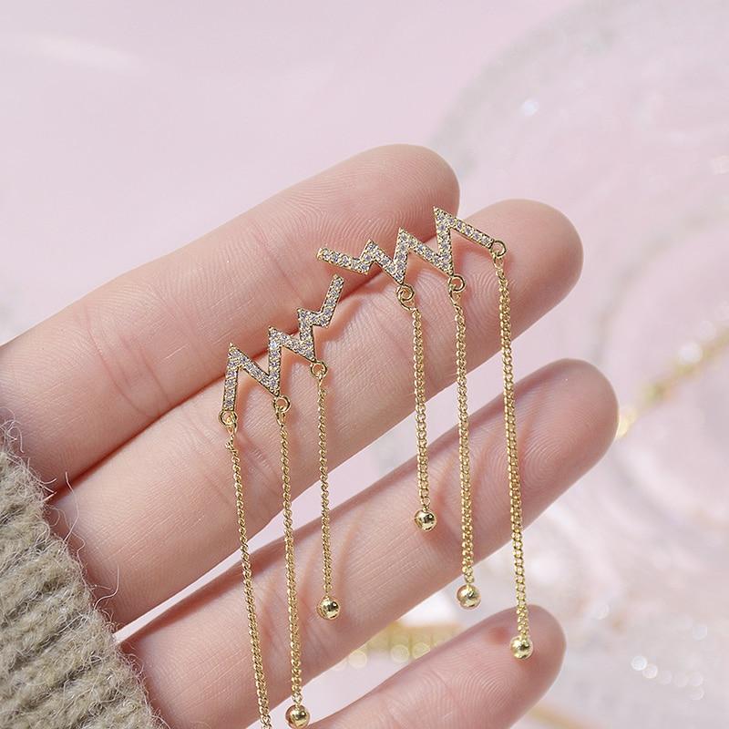 Bohemia Wave Heartbeat Tassel Women Earring 14K Real Gold Zirconia Lightning Stud Earrings Wedding Jewelry for Bridal Accessorie