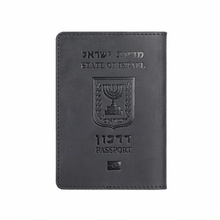 Leather Israeli Passport Cover Hebrew Passport Menorah Case Unisex Travel Wallet