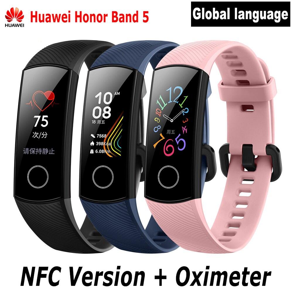 2019 Huawei Honor Band 5 Bracelet intelligent oxymètre de sang oxygène fréquence cardiaque moniteur de sommeil Sport Bluetooth NFC Bracelet intelligent