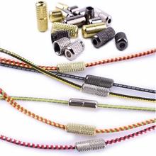 2 sztuk para Shoelace klamra metalowe sznurowadła blokady akcesoria metalowe koronki blokady DIY zestawy Sneaker srebrny złoty Metal koronki klamra tanie tanio SMATLELF Shoelaces lock T3-01