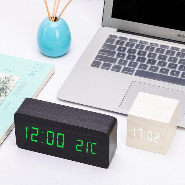 MULTICOLOR LED ไม้นาฬิกาปลุกนาฬิกาควบคุมเสียงดิจิตอลไม้ Despertador Desktop อิเล็กทรอนิกส์ USB/AAA นาฬิกา