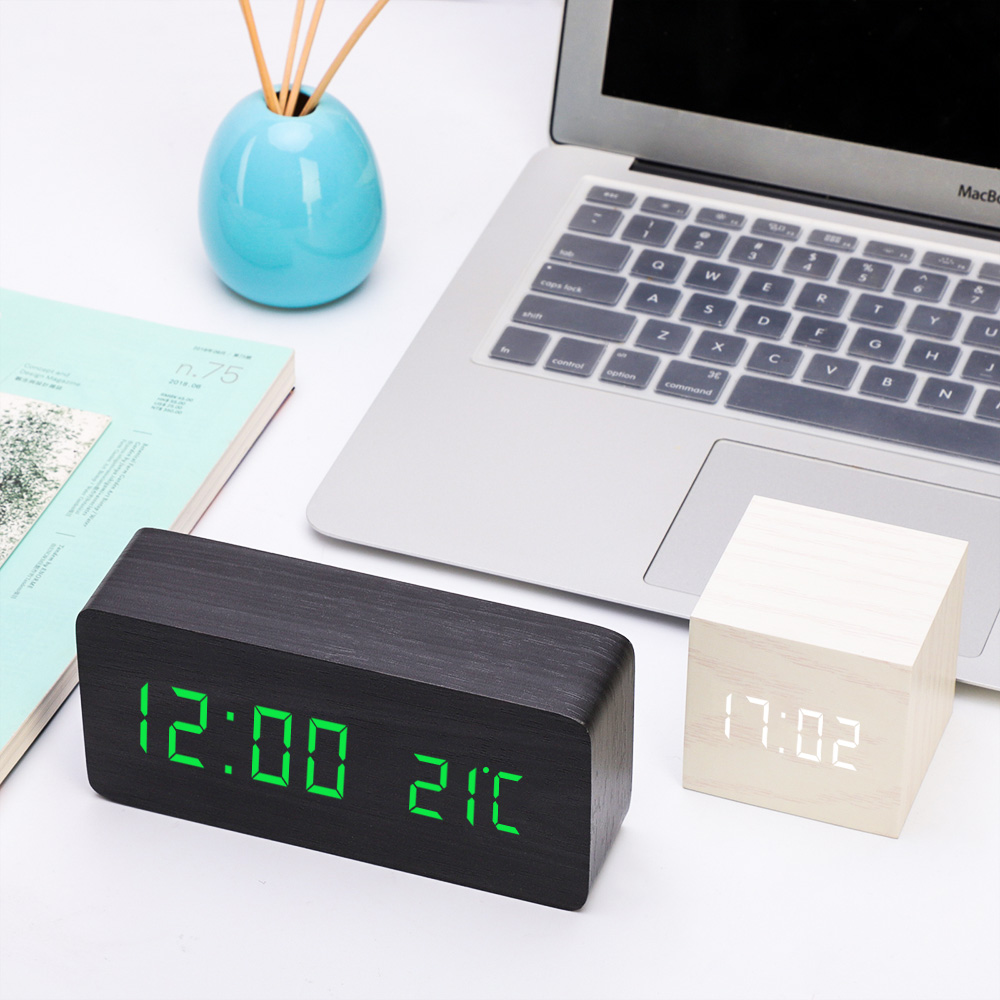 Multicolor LED Wooden Alarm Clock Watch Table Voice Control Digital Wood Despertador Electronic Desktop USB/AAA Powered Clocks(China)