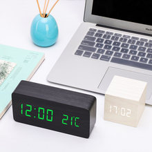Multicolor LED Jam Alarm Kayu Tonton Tabel Kontrol Suara Kayu Digital Despertador Elektronik Desktop USB/AAA Powered Jam(China)