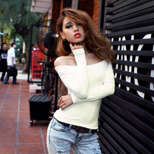 Spring Summer Style Women's T Shirt Sexy Off The Shoulder Tops For Women Tshirt Solid Black White Red Casual T-Shirt black sexy off shoulder back splited t shirt