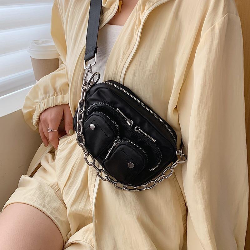 Multi-pocket Oxford Cloth Crossbody Bags For Women 2020 Mini Black Shoulder Messenger Handbags Female Chain Phone Purses