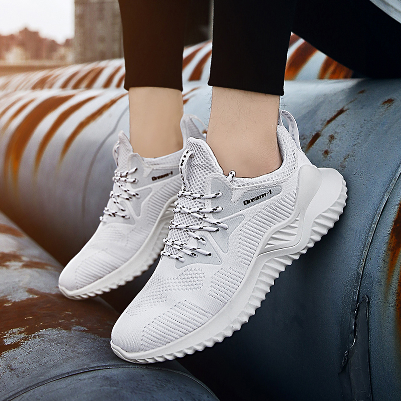 2019 Hot Sale Four Seasons Running Shoes Men Lace up Athletic Trainers Sports Shoes Men Outdoor Walking Sneakers in Running Shoes from Sports Entertainment