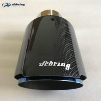 sebring The New Stainless steel carbon fiber car tail throat exhaust pipe modified blue muffler bright  tail pipe cover tips