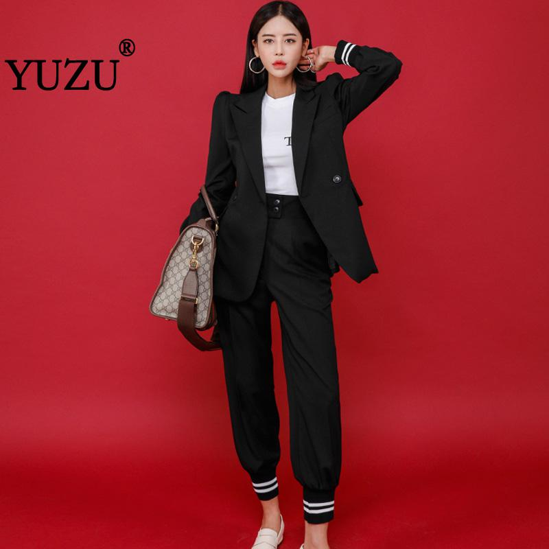 Casual Office Blazer Pants Suits For Women Black Striped Double Breasted Long Sleeve Work Business Outerwear High Quality