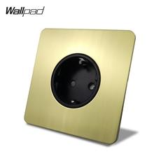 Wallpad האיחוד האירופי קיר שקע חשמל Outlet סאטן זהב H6 מוברש פליז נירוסטה פנל
