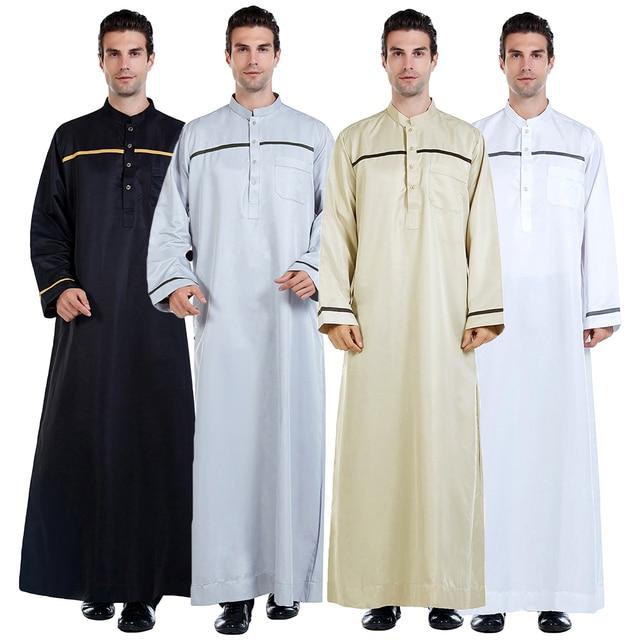 Männer Saudi Arabischen Männer Robe Dishdasha Thoub Moslemische Kleidung Langarm Kaftan Abaya Dubai Nahen Osten Islamischen Jubba Thobe Kleid neue