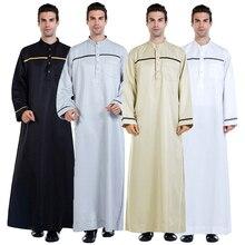 남자 사우디 아라비아 남자 로브 dishdasha thoub 이슬람 의류 긴 소매 kaftan abaya 두바이 중동 이슬람 jubba thobe 드레스 새로운
