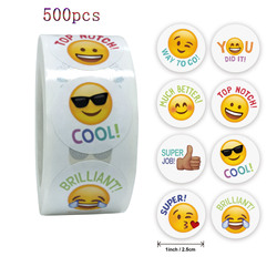 Qiduo 500Pcs/roll Smiley Face Sticker for Kids Reward Sticker Labels Happy cute  gifts Toys stationery  teacher reward stickers