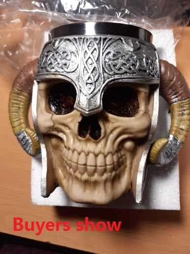 Czaszka ze stali nierdzewnej kubek Viking kubek do picia szkielet żywica piwo Stein kufel kubek kawy kubek do herbaty Halloween Bar do napojów prezent