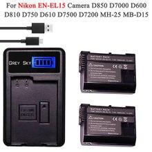 Nieuwe EN-EL15 EL15 EN-EL15a ENEL15a En EL15a Batterij + Usb Oplader Voor Nikon D850 D810 D810A D750 D500 D7500 D7200 d7100
