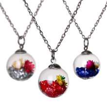 Wishing Bottle Glass Ball with Key Necklace Inside Dry Flower Lucky Crystal Stone Chain Pendant Necklace for Women Jewelry Gift(China)