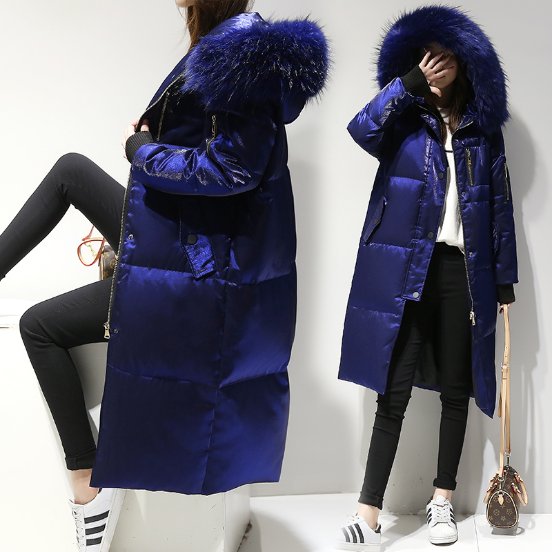 2019 women's Winter   down   jacket Big Fur Collar Hooded White Duck   Down   Parkas Female Slim   Coat   Parka Warm Thicken Outwear YRF02