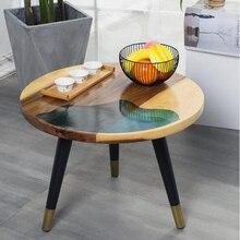 Простой круглый журнальный столик из цельного дерева для гостиной, железный маленький столик, ретро диван, столик, небольшой журнальный столик, простой сборочный стол