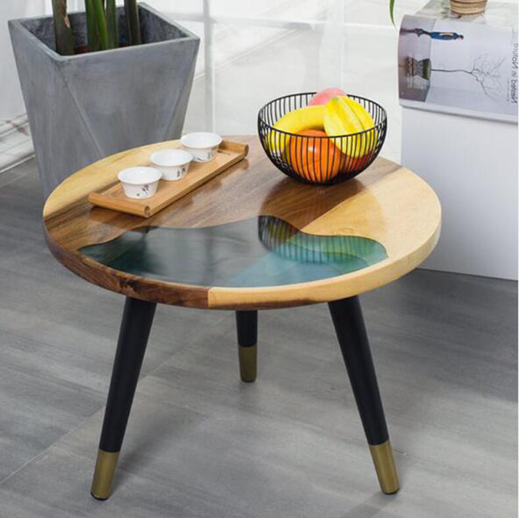 simple round solid wood coffee table living room iron small table retro sofa side table small coffee table easy assembly table