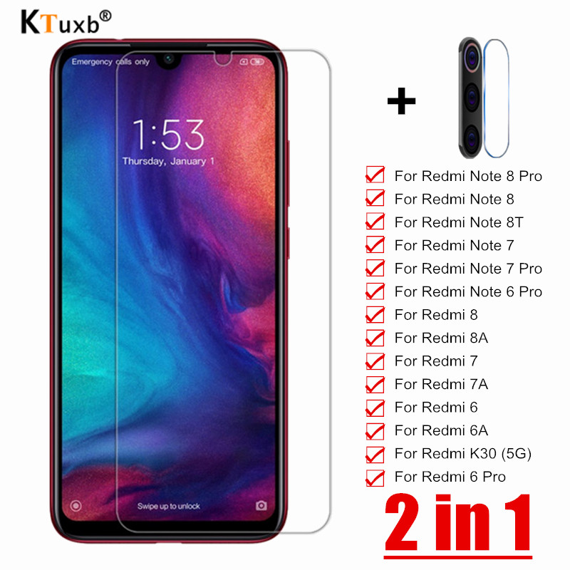Tempered Glass For Xiaomi Redmi Note 8 7 6 Pro 8T Screen Protector For Redmi K30 7 7A 8 8A 6A 6 Pro 2 In 1Camera Lens Protective