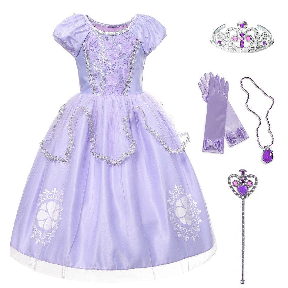 Маленький для девочек модное платье без рукавов, с принтом Софии первой одеваются, карнавальный костюм, платье принцессы Софии, костюм на де...
