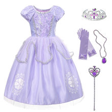 Meninas fantasia sofia o primeiro vestido de carnaval cosplay princesa sofia traje festa de aniversário vestido de baile criança roxo vestidos