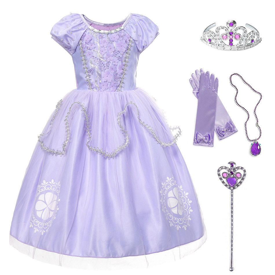 Petites filles fantaisie Sofia la première robe carnaval Cosplay princesse Sofia Costume fête d'anniversaire robe de bal enfant violet Vestidos