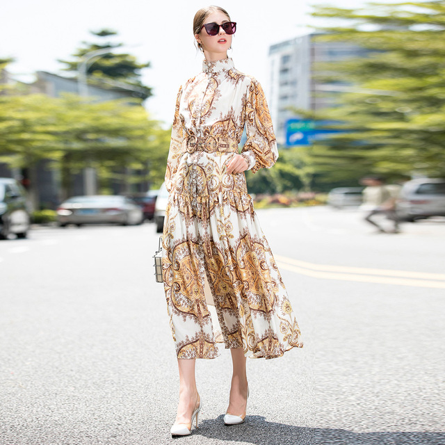 Long Dress Runway High Quality Spring Autumn New Boho Women S Casual Vacation Sexy Beach Fashion Workplace Christmas Party Vinta