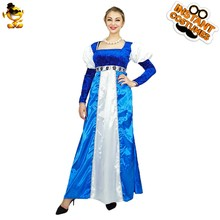 Purim Halloween Women Medieval Princess Costumes Fancy Dress White&Blue Dress for Adult Lady Disguise Carnival Costume Clothes(China)
